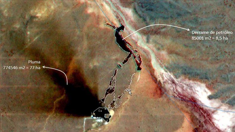 Divulgan imágenes de un enorme derrame de petróleo en Vaca Muerta