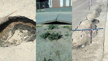 se levanto el asfalto en varios puntos de zona sur