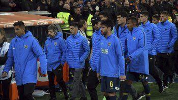 Los jugadores de Boca en el Santiago Bernabéu tras perder ante River la superfinal de la Copa Libertadores.
