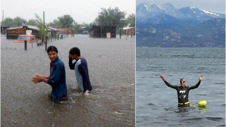 Funcionario de Infraestructura se fue a nadar en medio de las inundaciones