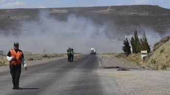 Debido al intenso viento, la humareda que se desprendía del incendio en el basural motivó que la visibilidad en la Ruta 3 se volviera prácticamente nula.
