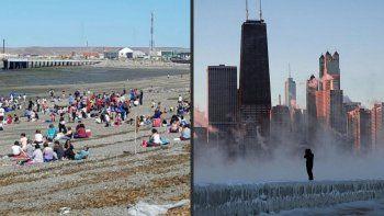A la izquierda un día de playa en la provincia más austral del mundo (Tierra del Fuego). A la derecha en el otro extremo la ciudad de Chicago congelada con sensaciones térmicas de --55°.