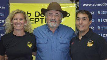 Claudia Marangoni, Othar Macharashvili y Facundo Niziewiz en la presentación de la primera fecha del Nacional de pesca submarina.