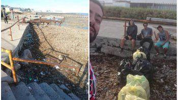 Un grupo de amigos se tomó la tarde del domingo para limpiar la costa