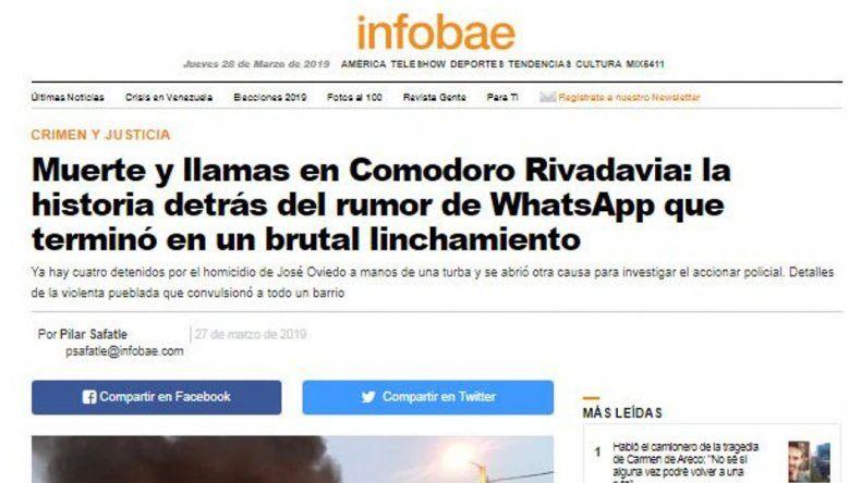 Publicaron su foto como la del hombre  linchado y le entablará juicio a Infobae