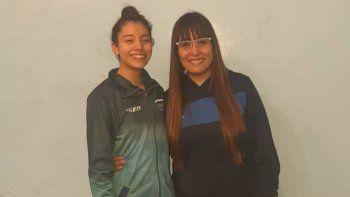 Camila Aguirre junto a su entrenadora Antonella Tiglio.