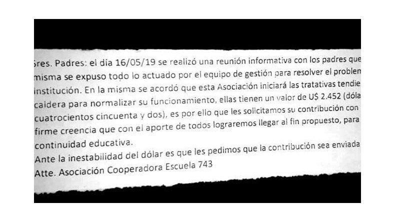La nota enviada por la cooperadora a los padres de los estudiantes para que colaboren con la iniciativa.