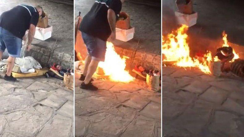 Indignante: un hombre prendió fuego a indigente que dormía en la vereda