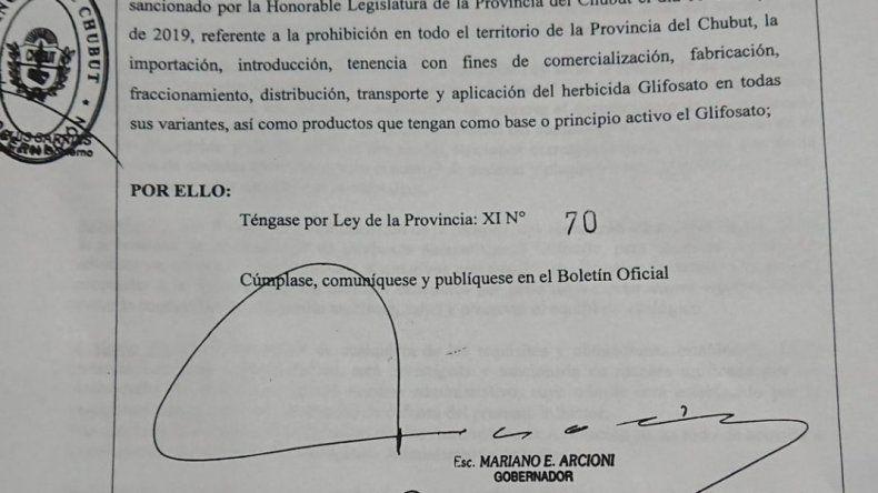 Finalmente se promulgó la ley que prohíbe el glifosato en Chubut