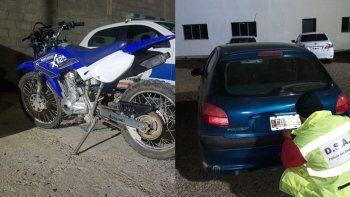 Secuestran moto y auto robados que fueron comprados por Facebook