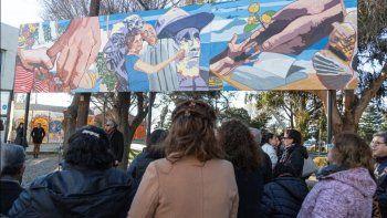 La inauguración del mural en la Plaza Soberanía.