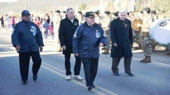 Veteranos al participar del desfile que se desarrolló ayer en el barrio Diadema.