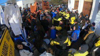 Manifestación de varios gremios frente a la Casa de Gobierno