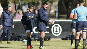 Ramiro Herrera durante un entrenamiento con la selección argentina de rugby.