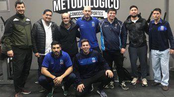 El grupo de profesores que trabaja en el Departamento Metodológico que funciona en el gimnasio municipal 1.