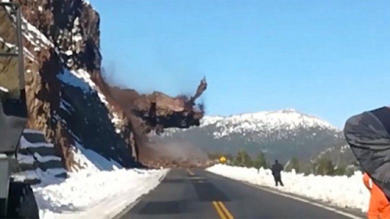 Mirá el momento del derrumbe en Ruta 40