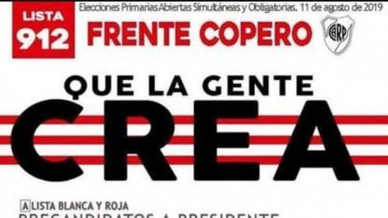 La boleta electoral de los hinchas de River dedicada a Boca