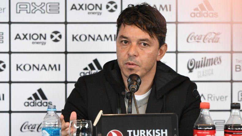Marcelo Gallardo durante la conferencia de prensa que brindó ayer de cara al partido de mañana ante Racing en Avellaneda.
