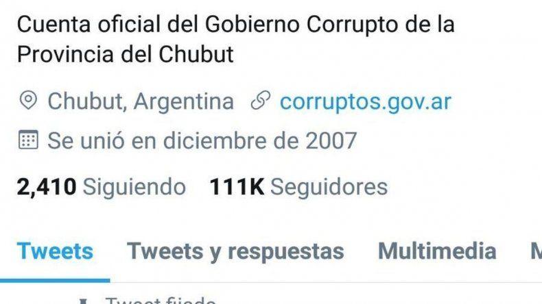 La cuenta de Twitter del Gobierno de Chubut fue hackeada