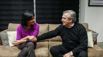 Alberto Fernández durante el encuentro que mantuvo con Natalia de la Sota.