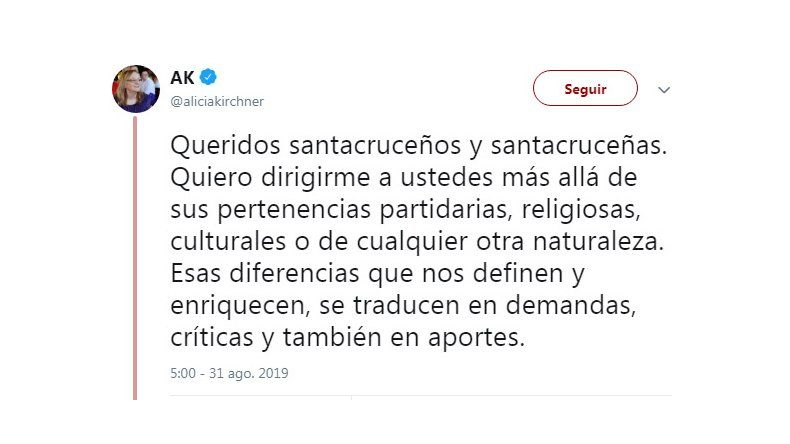 La gobernadora Kirchner le pidió a los santacruceños trabajar desde el acuerdo