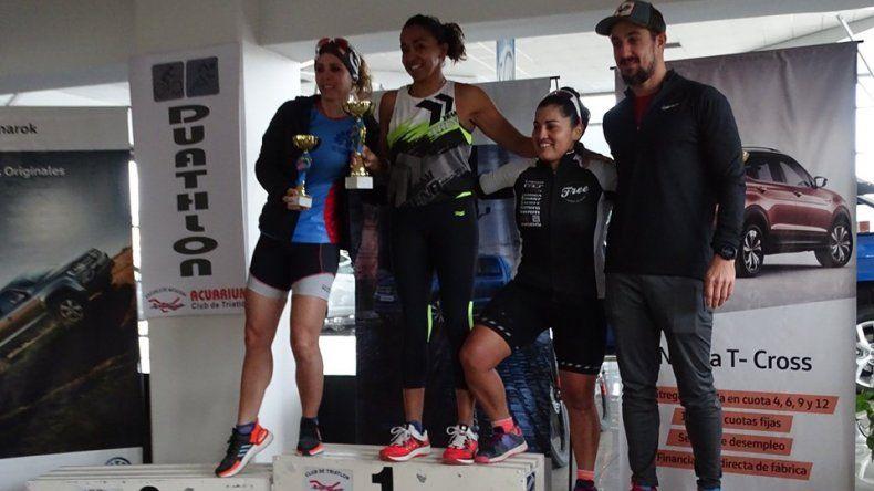 El podio de la categoría Damas donde la ganadora fue Iris Barrionuevo.