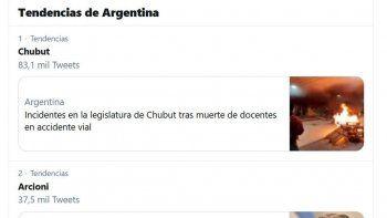 Chubut y Arcioni son las primeras tendencias nacionales en Twitter