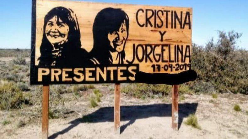 Una imagen de Jorgelina y María Cristina quedará emplazada en la ruta
