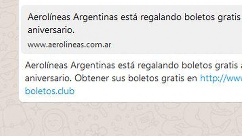 ¡Es una trampa!: Aerolíneas Argentinas no regala pasajes gratis