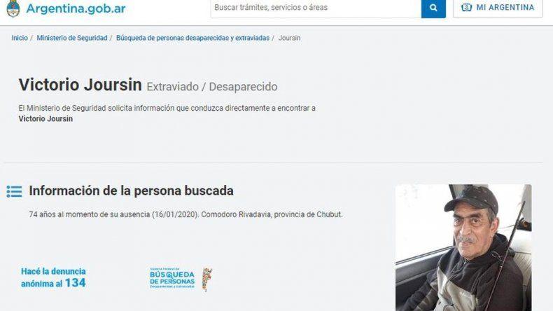 El Ministerio de Seguridad de la Nación difunde la búsqueda de Joursin