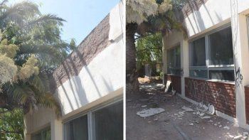 Se desmoronó parte de la mampostería externa de una escuela de Madryn