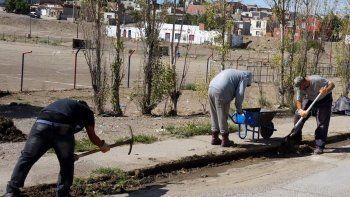 Operarios municipales del área Servicios iniciaron esta semana el operativo de limpieza en calles y baldíos del barrio 3 de Febrero.
