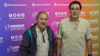 José Tagliaferri y Sebastián Patane durante su visita en la agencia Chubut Deportes.