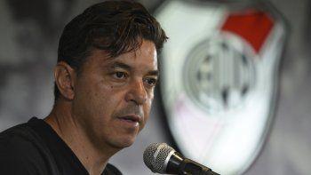 Marcelo Gallardo durante la conferencia de prensa que brindó ayer al mediodía en Ezeiza.